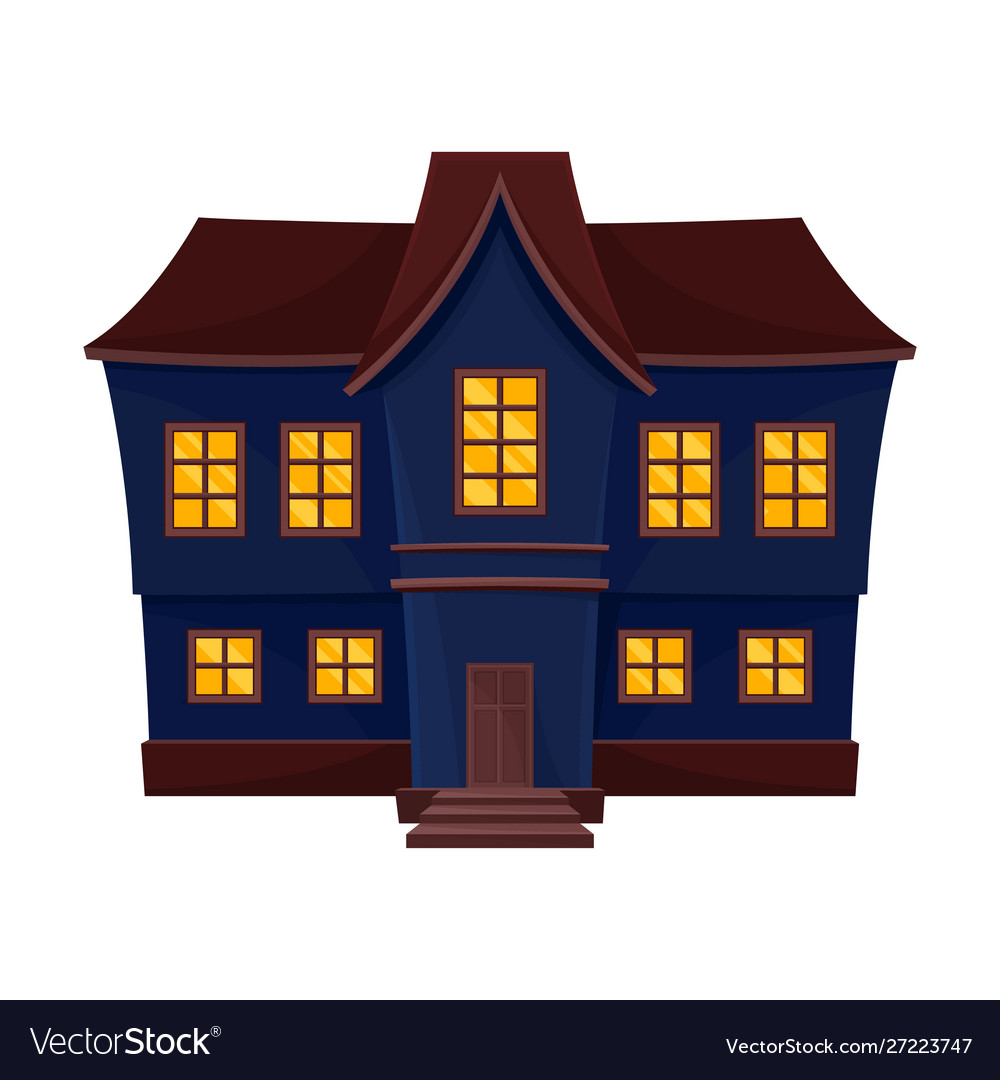 Blue Big Scary House With A Brown Roof Royalty Free Vector