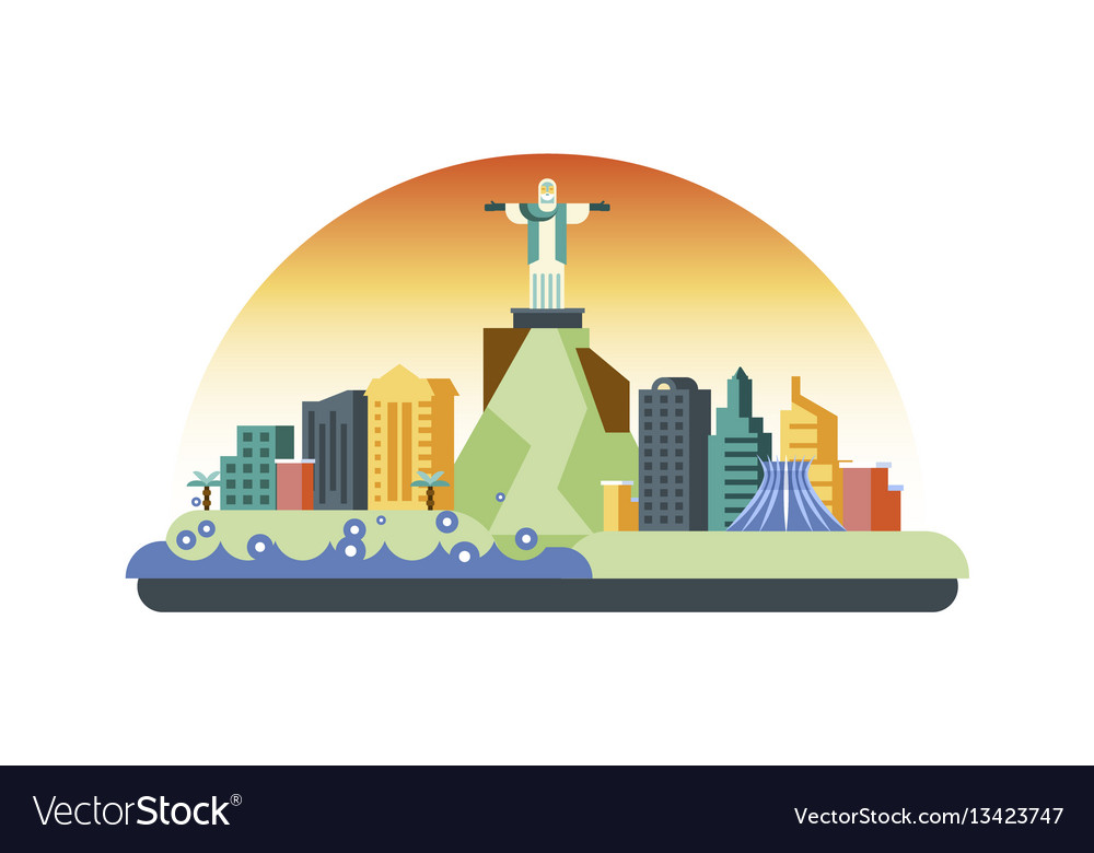 Brazil icon in flat style
