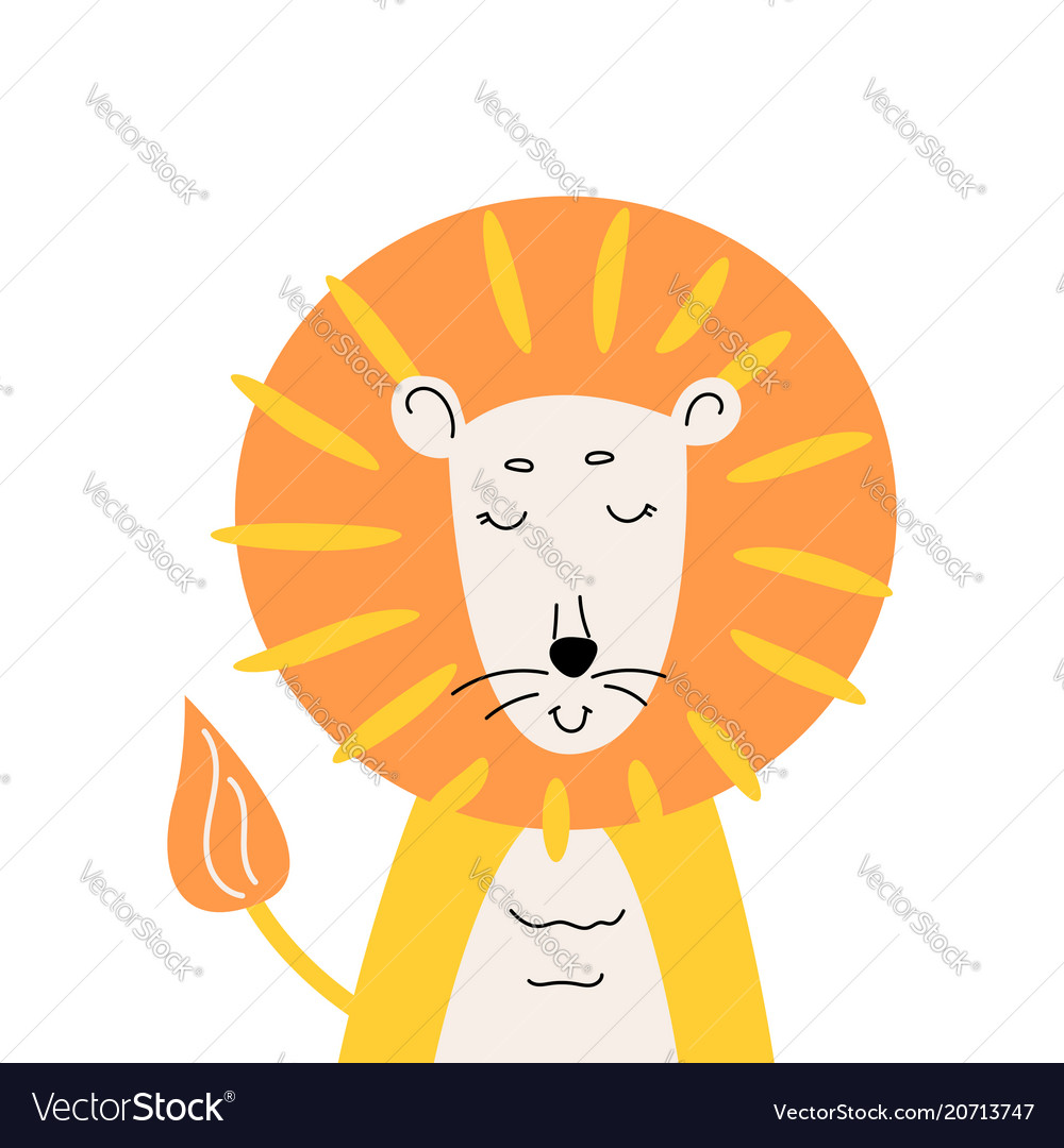 Cute lion for kids apparel design