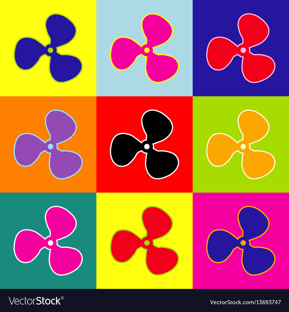 Fan sign pop-art style colorful icons set