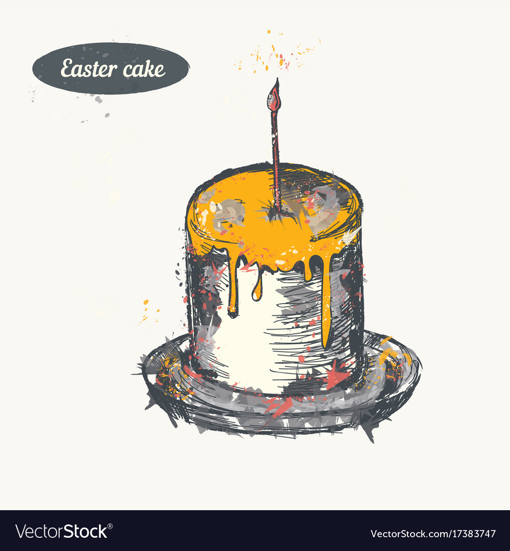 Hand drawn sketch easter cake vintage vector image