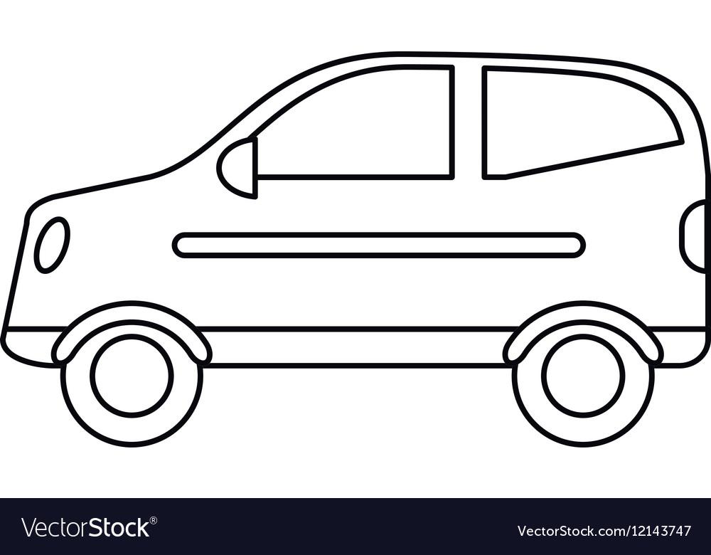 hatchback car vehicle side view outline royalty free vector rh vectorstock com car outline logo vector vintage car outline vector