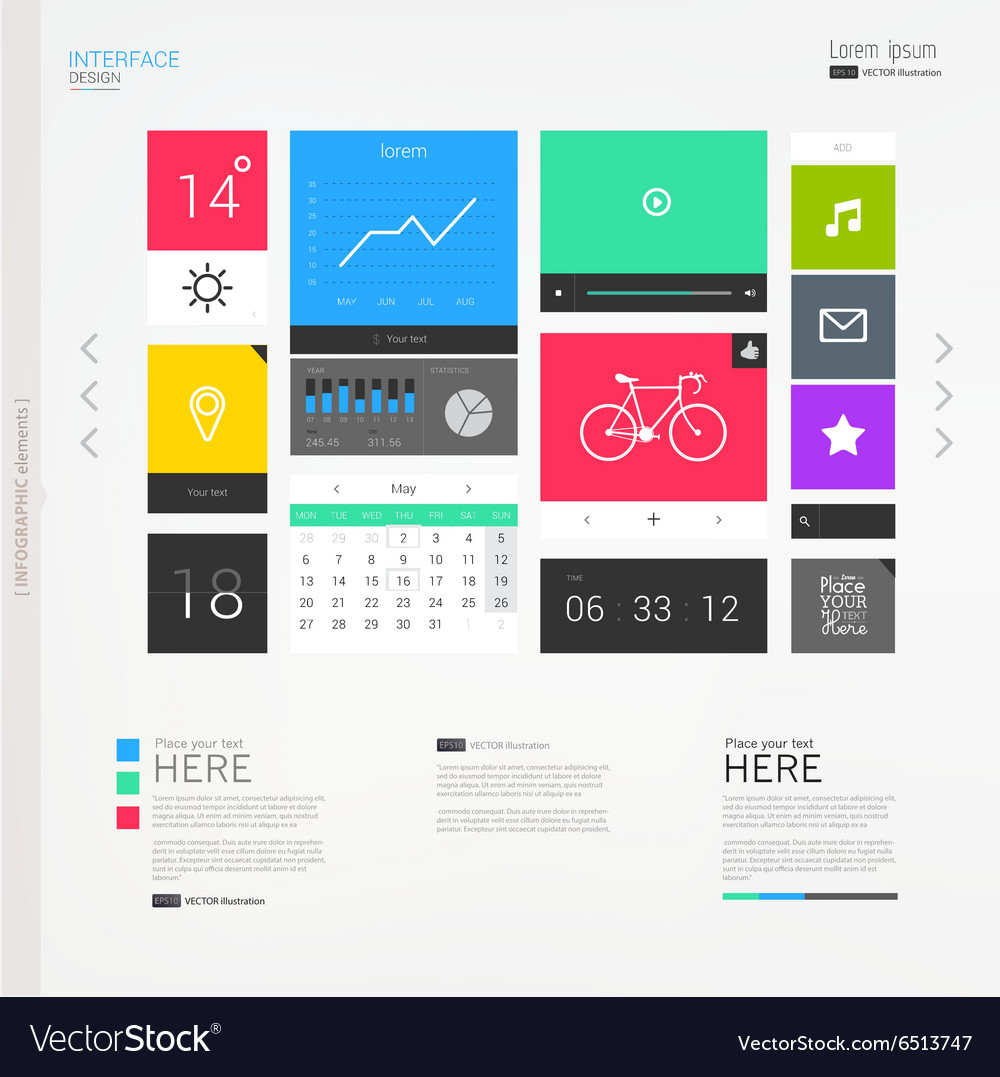 Interface template with modern icons