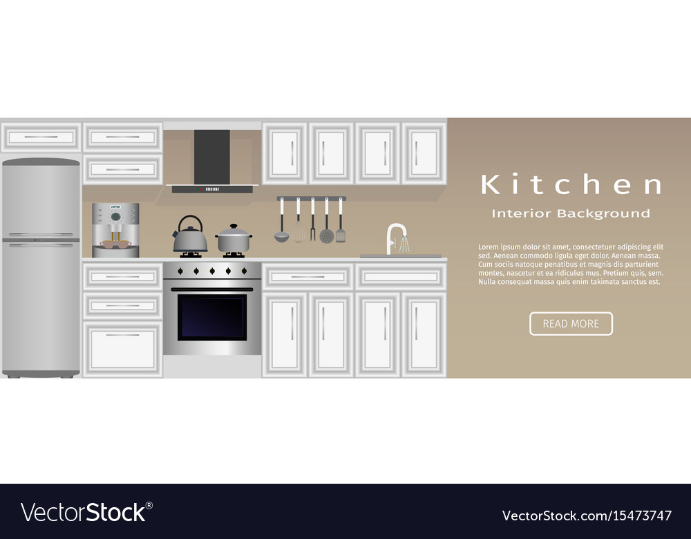 Modern Kitchen Interior Banner Housewife Vector Image