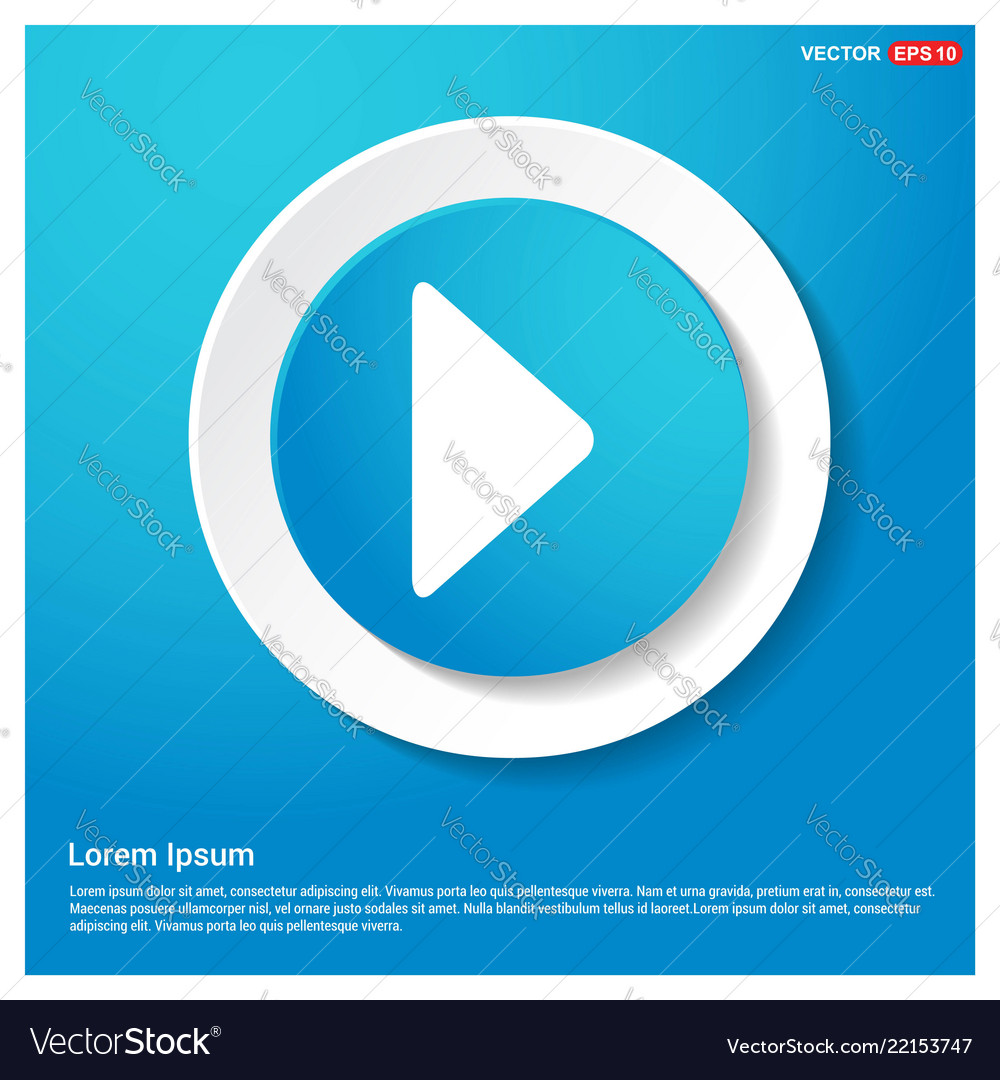 Play button icon abstract blue web sticker button