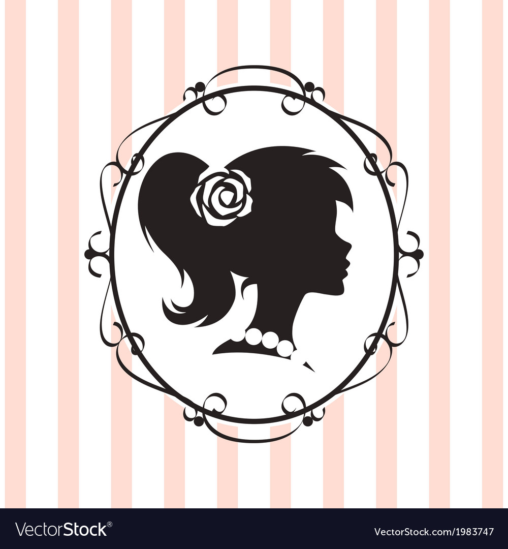 Silhouette label vector image