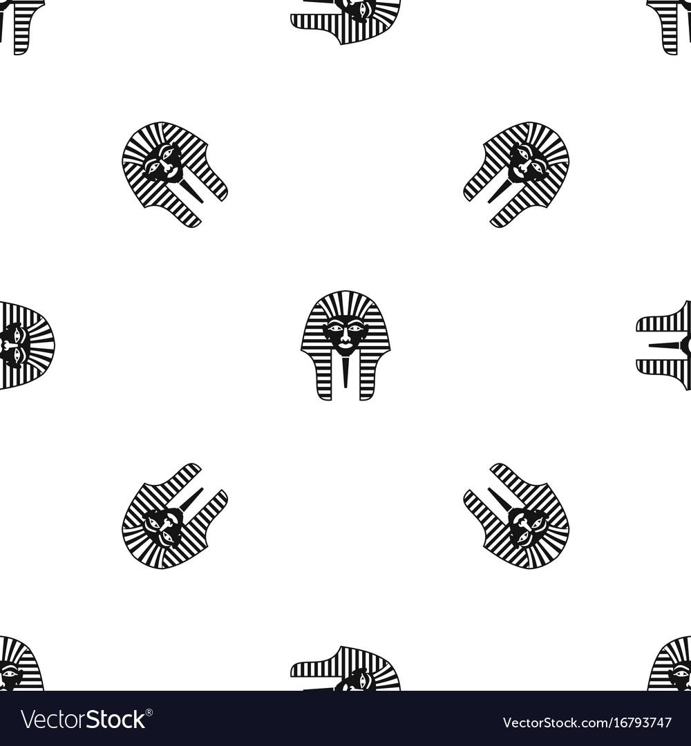 Tutankhamen mask pattern seamless black vector image