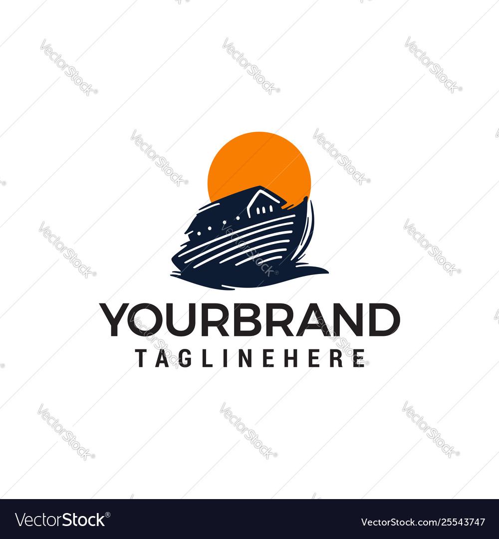 Wooden boat logo thai boat design concept template
