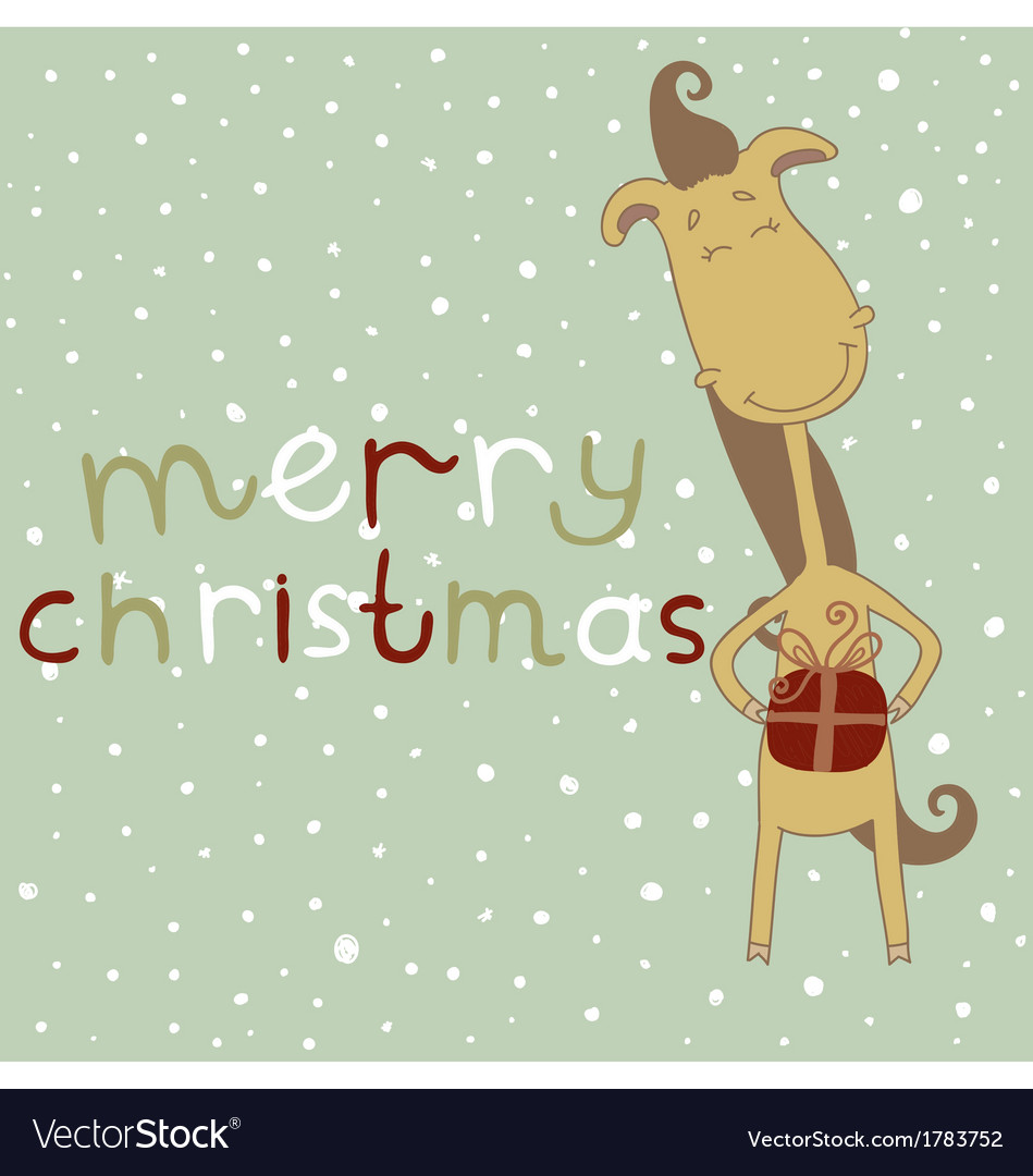 Christmas Horse Cartoon.Christmas Card With Cartoon Horse