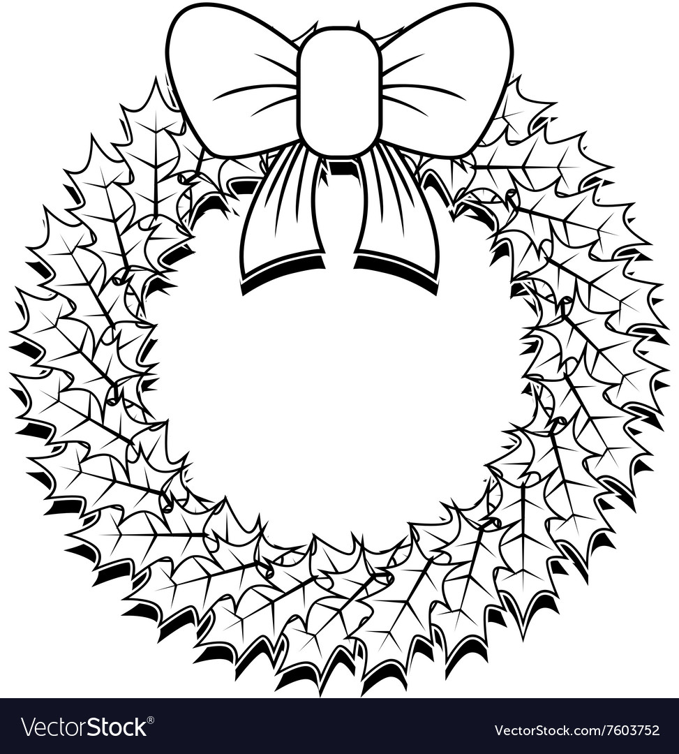 Christmas Wreath Outline Vector Image