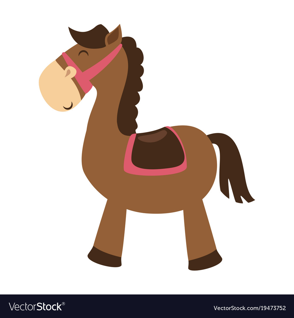 Cute Horse Toy Isolated Icon Royalty Free Vector Image