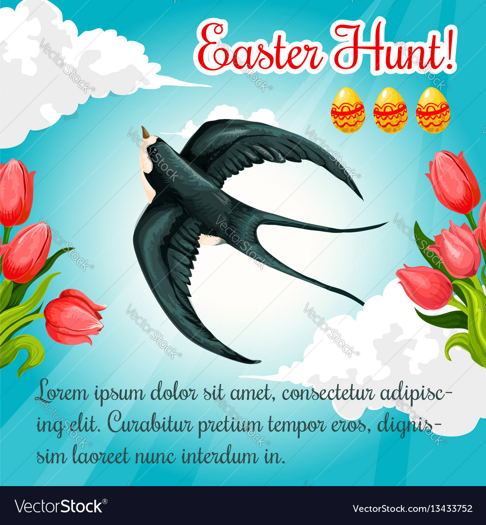 Easter poster swallow paschal eggs flowers vector image