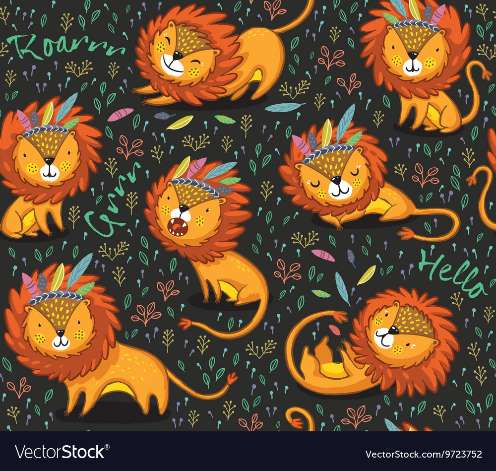 Funny lions seamless pattern with black