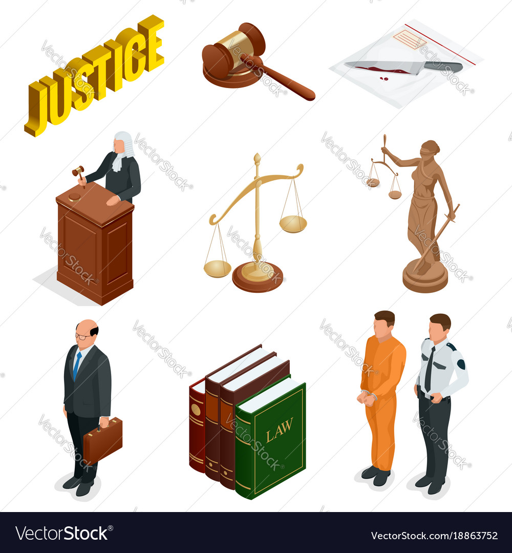 Isometric Law And Justice Symbols Of Legal Vector Image
