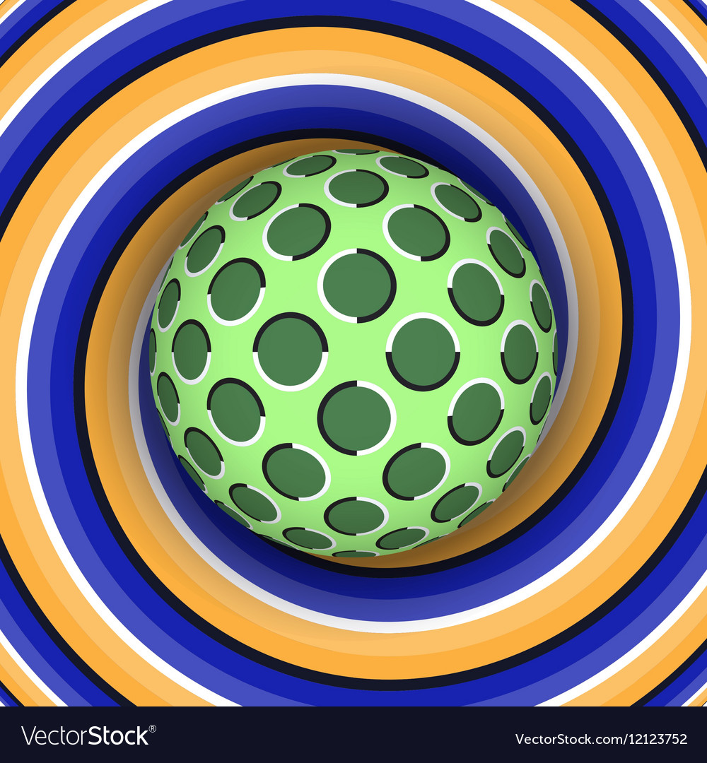 Optical of rotation of the ball against the vector image