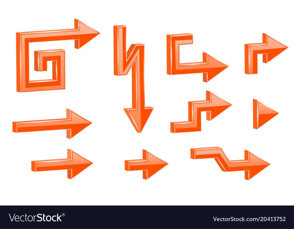 Orange shaped 3d arrows