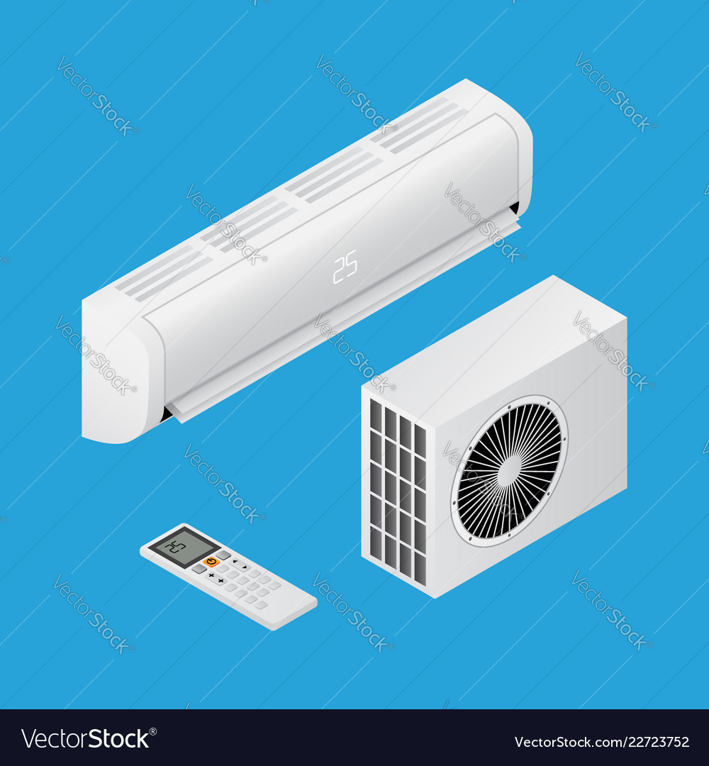 Realistic detailed isometric 3d air conditioning