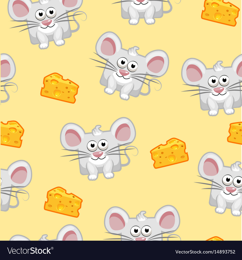 Seamless pattern cute cartoon square grey mouse