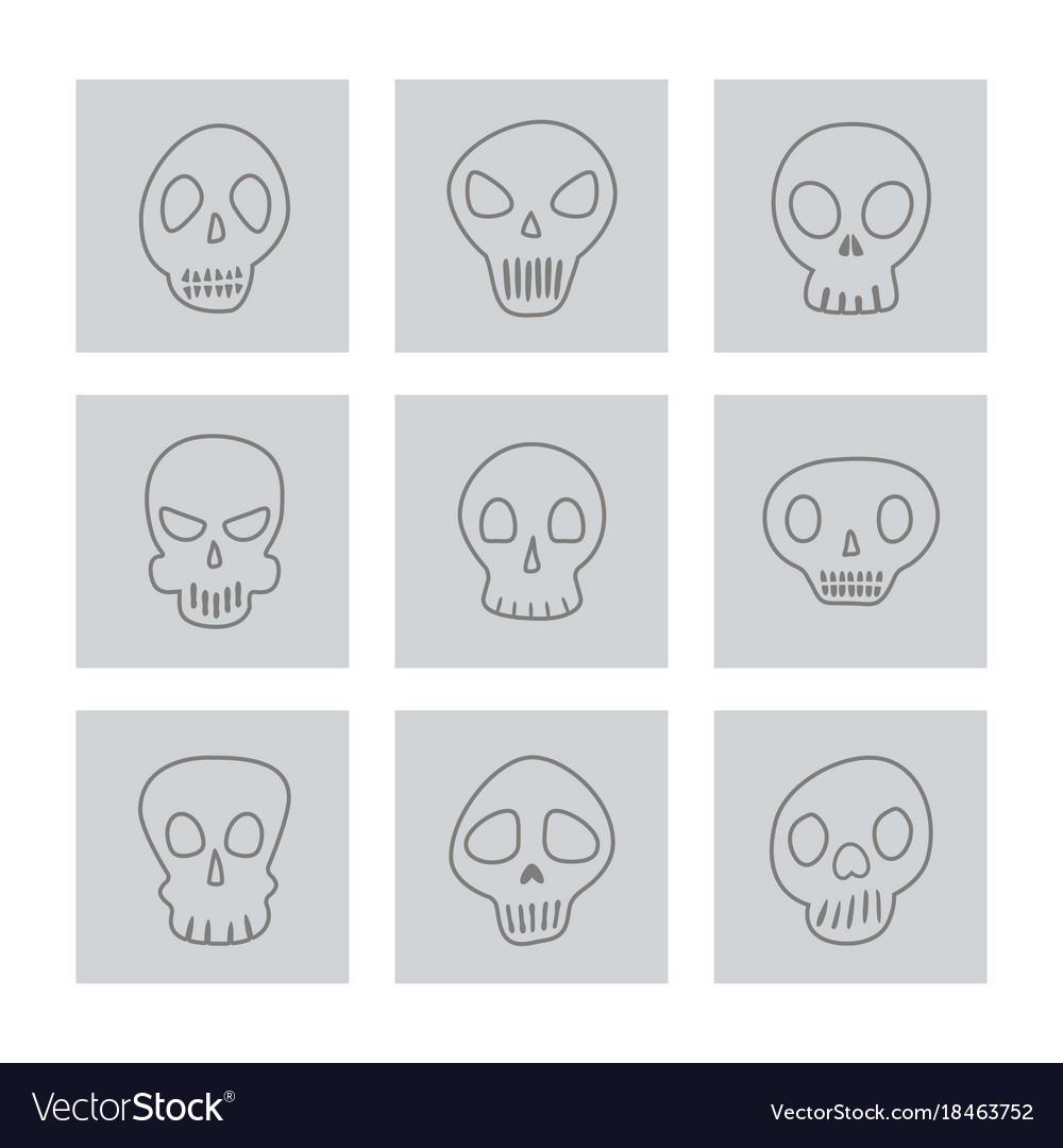 Set of monochrome icons with skulls