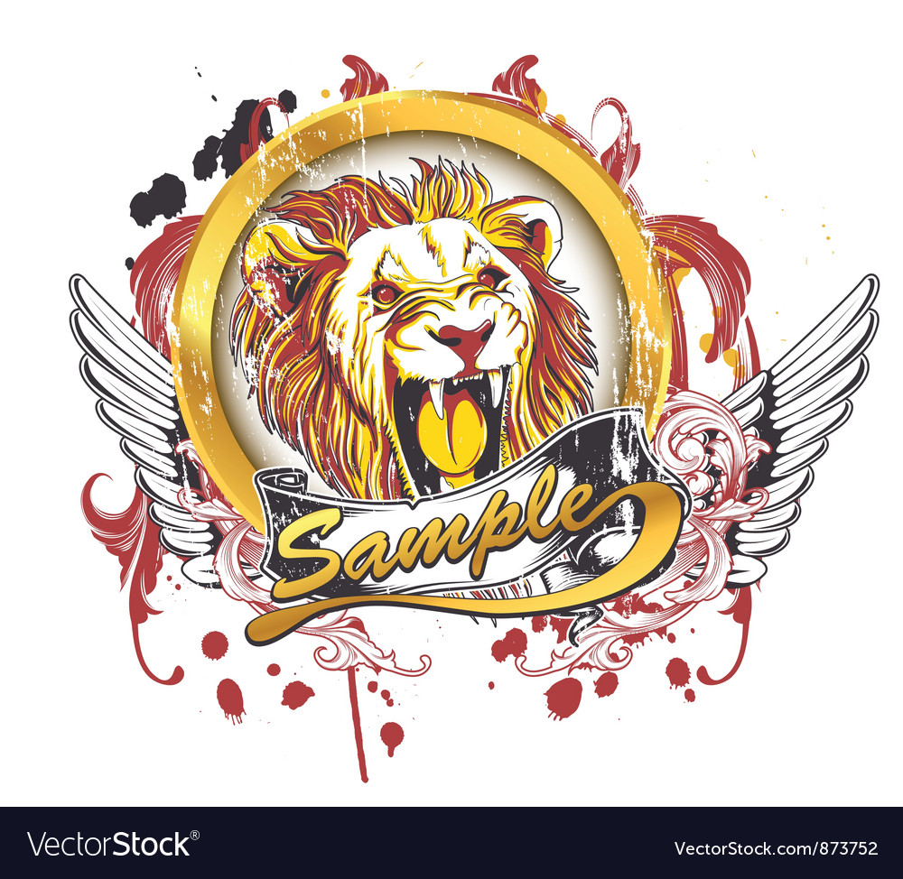 Vintage t-shirt design with lion vector image