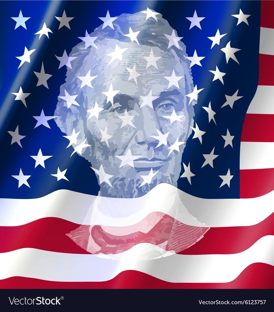 Abraham lincoin on united of america flag