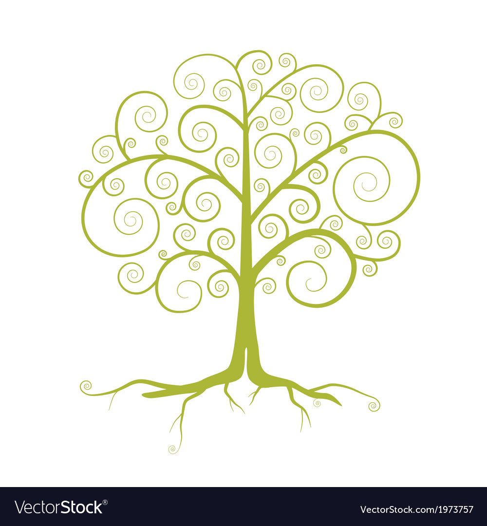 Abstract Green Tree Isolated on White Backgr