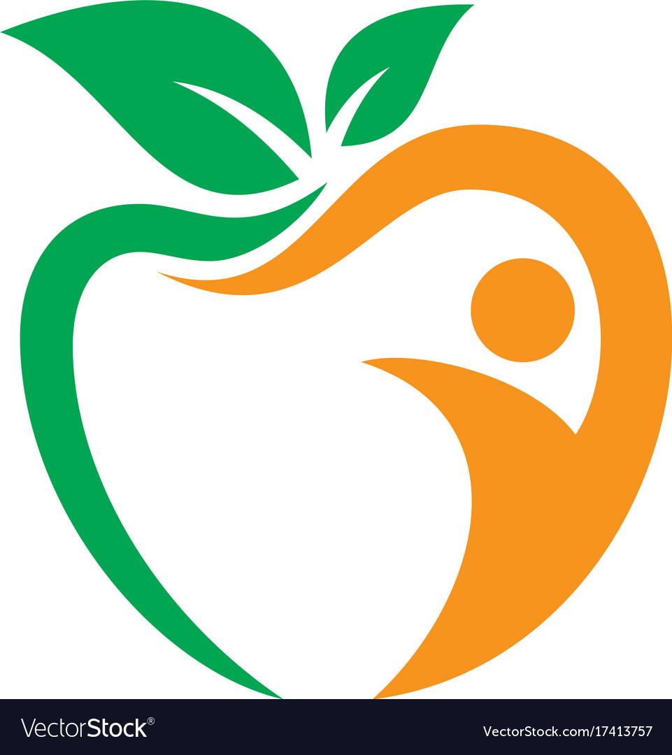Apple leaf people sign logo