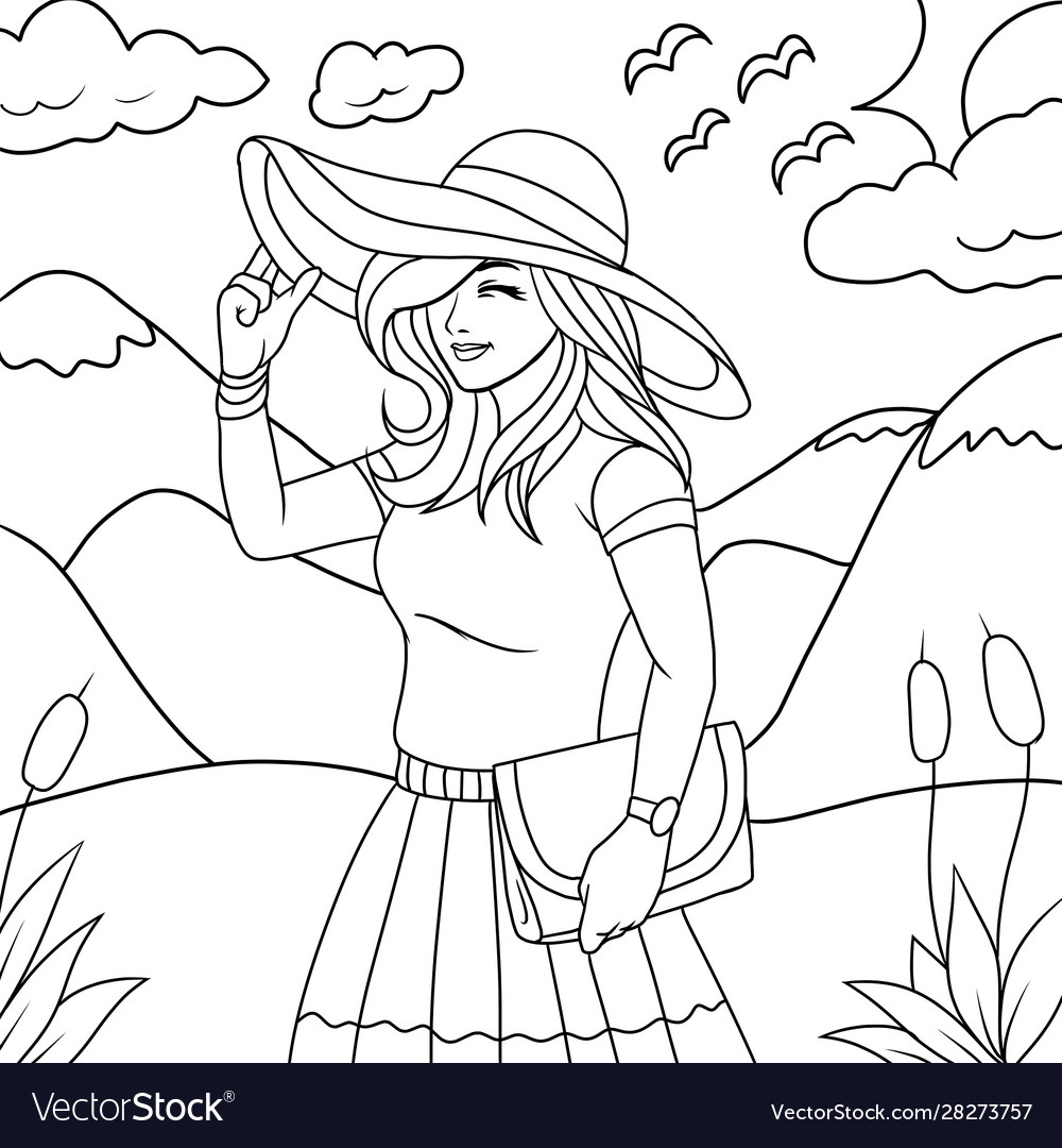 Beautiful Girl In Nature Coloring Book Royalty Free Vector