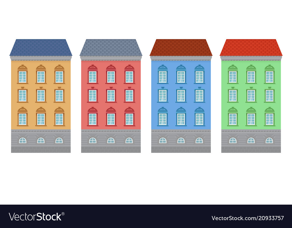 Flat style house colored old european buildings