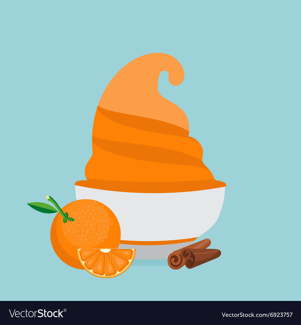 Frozen yogurt in the cup with orange and cinnamon