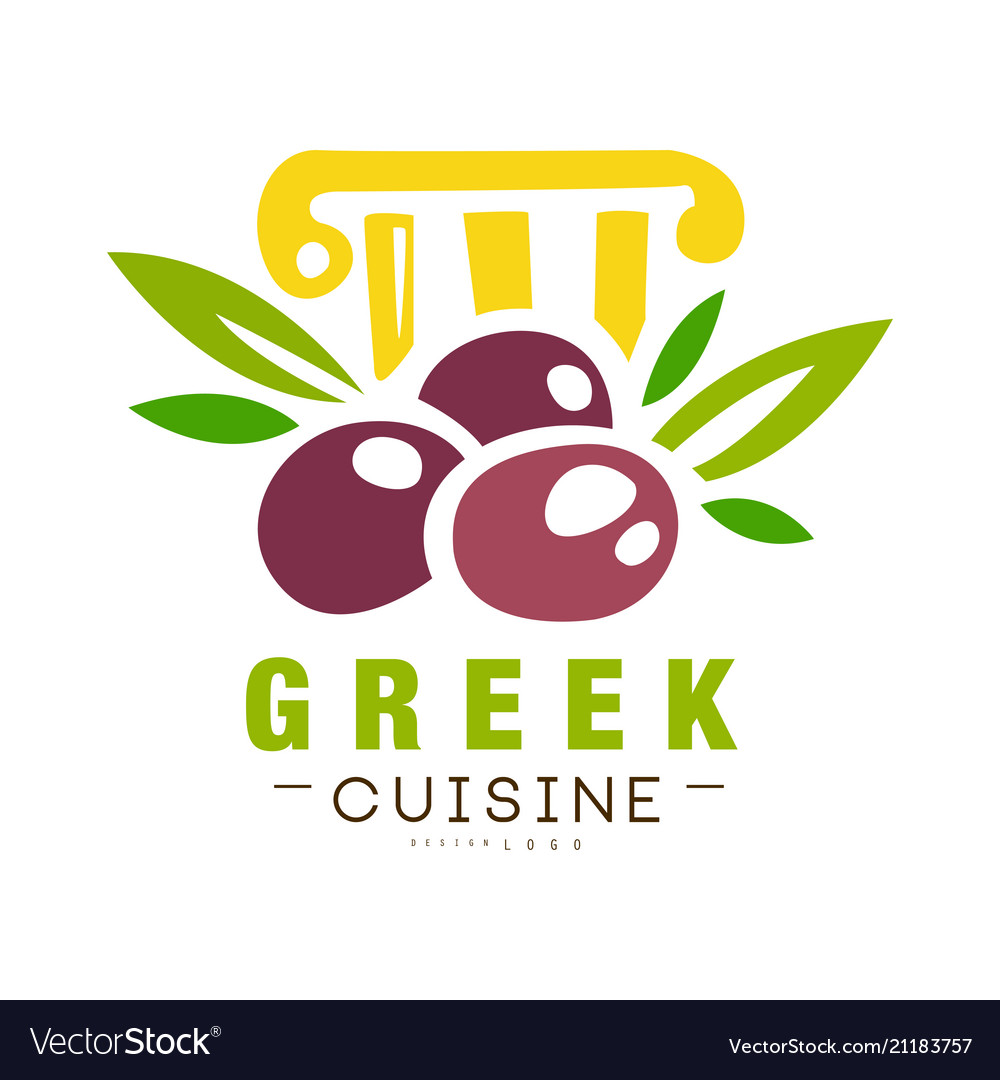 Greek Cuisine Logo Design Authentic Traditional Vector Image