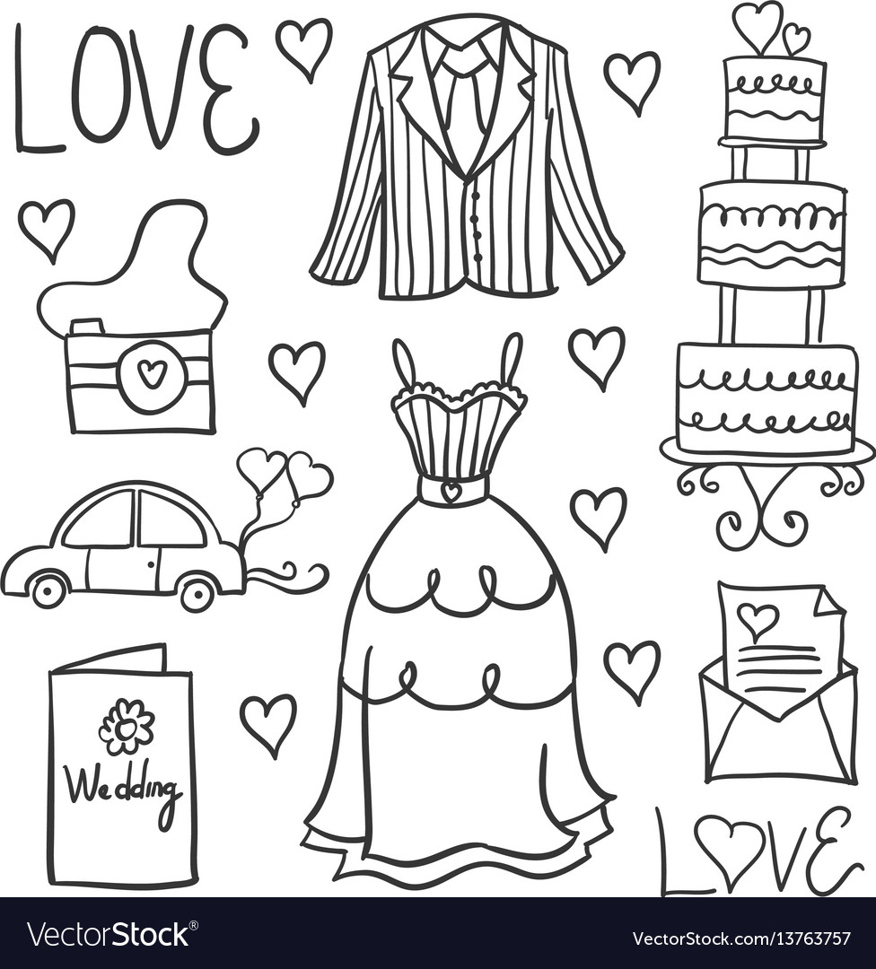 Hand draw style wedding in doodles