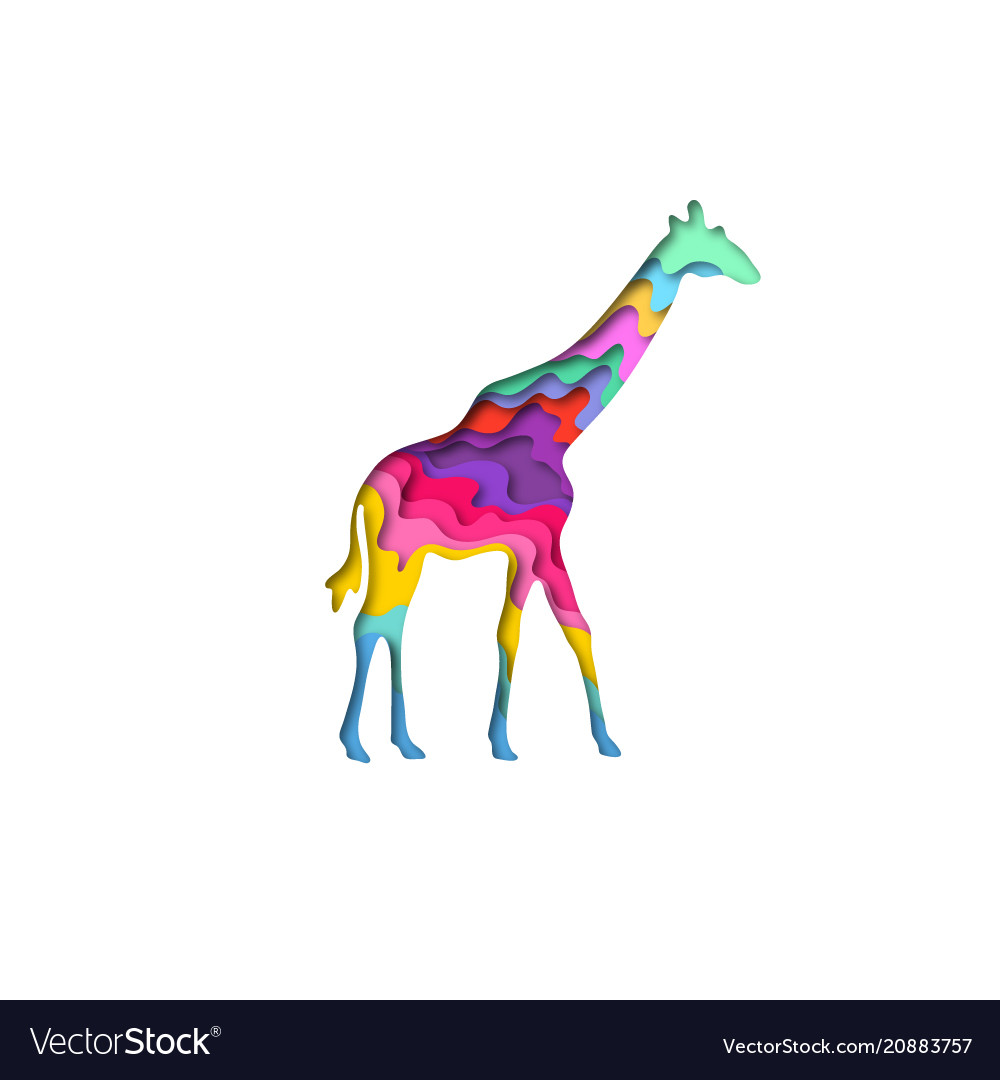 Paper cut giraffe safari animals shape 3d origami