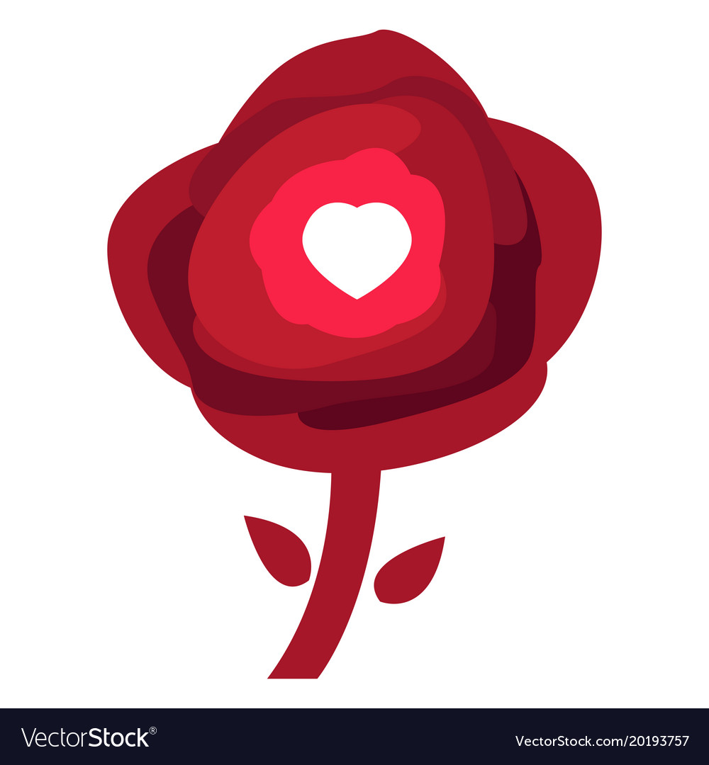 Rose with a heart shape vector image