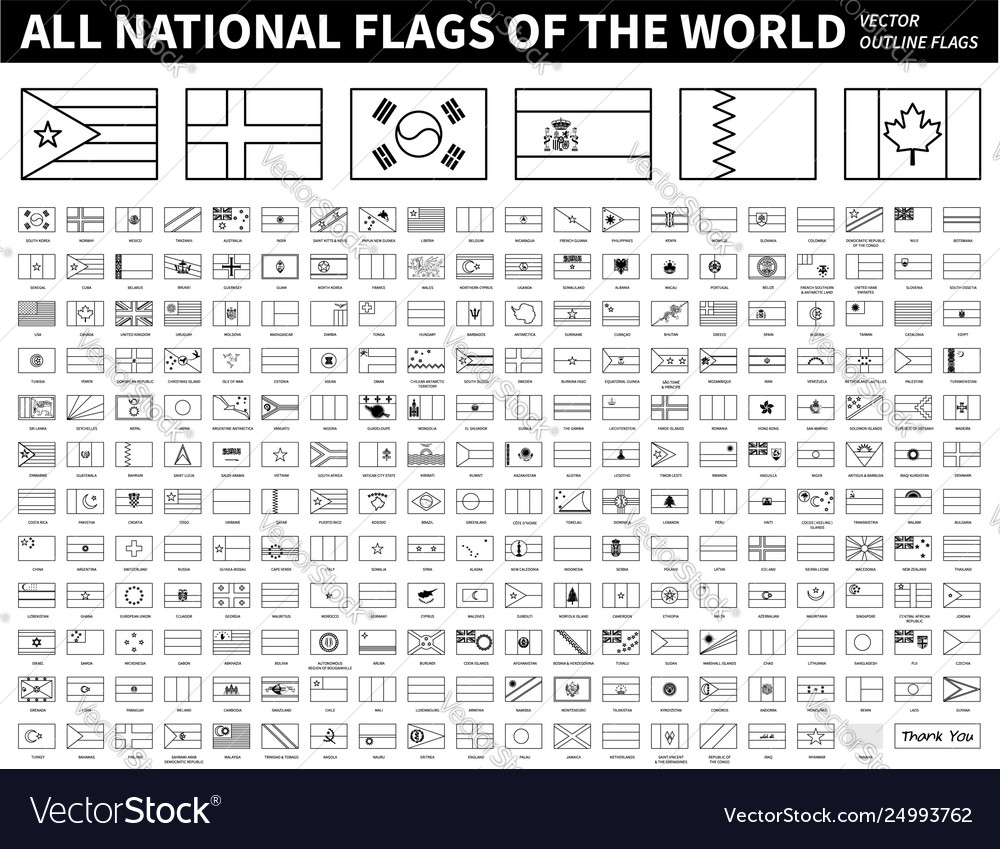 All national flags world outline shape