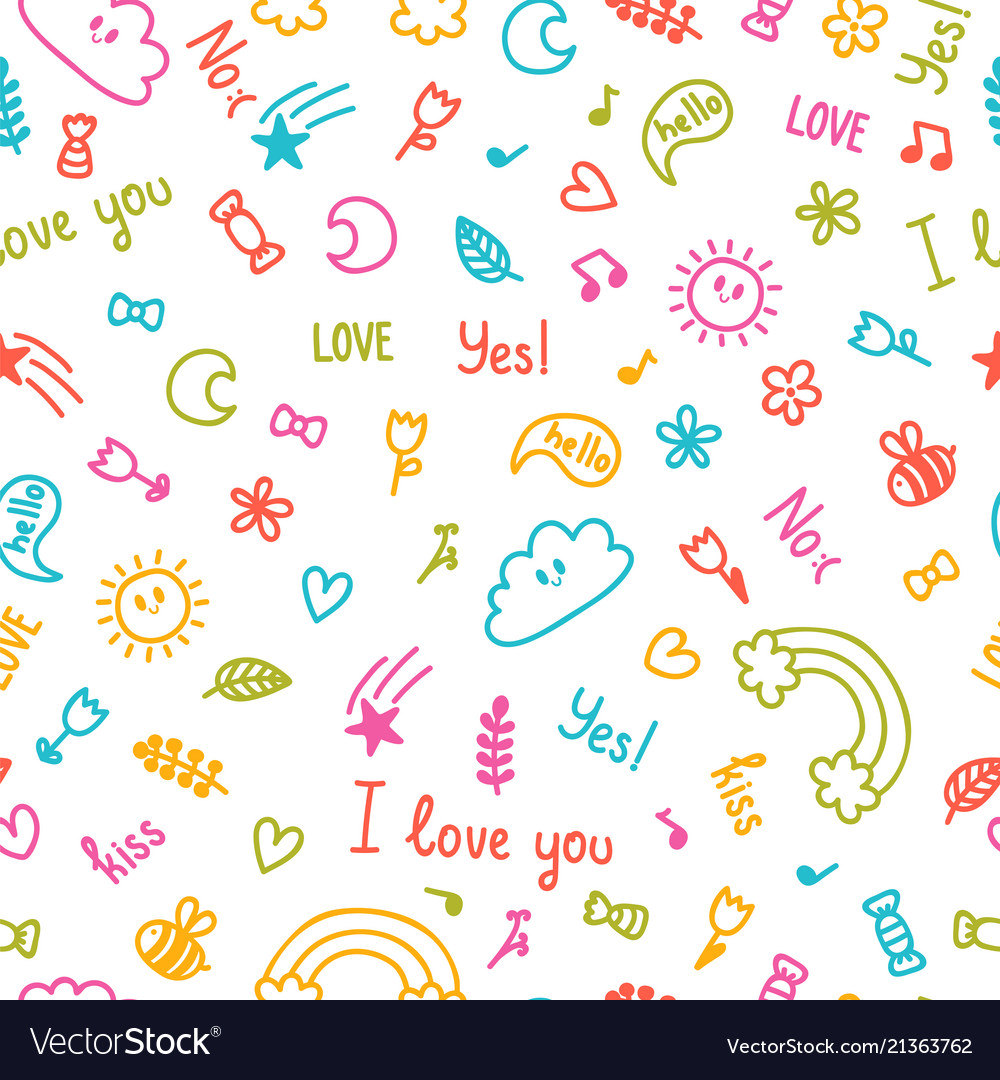 Background for cute little kids hand drawn