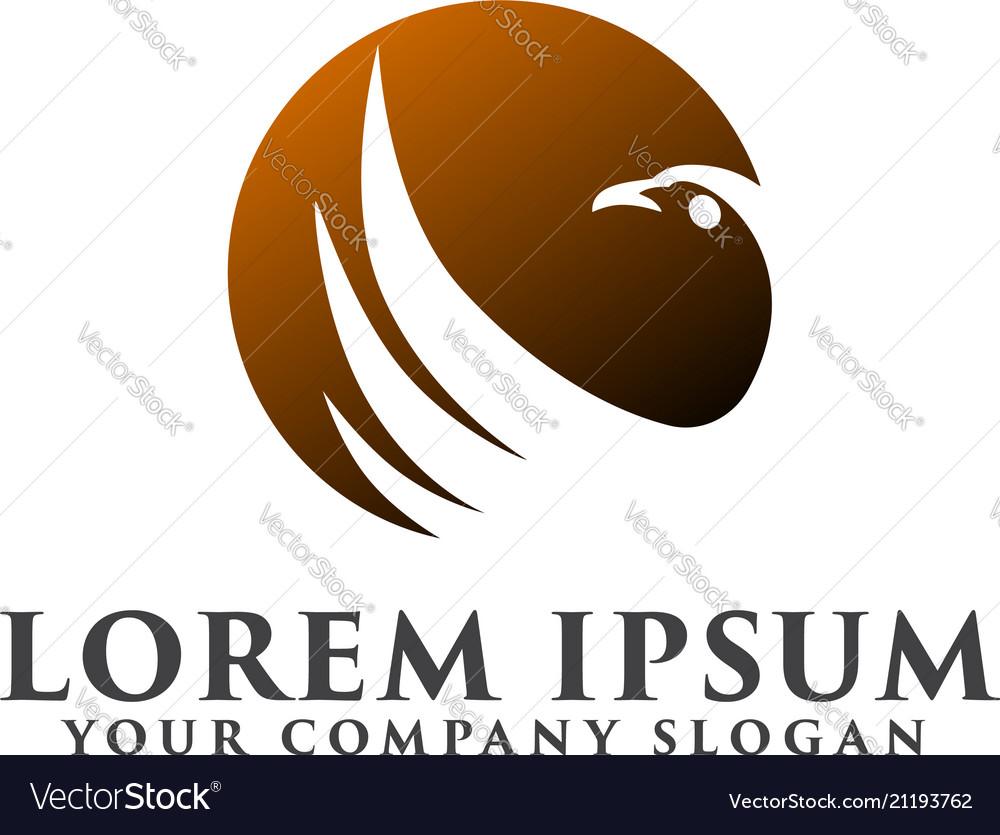 Bird sun logo design concept template