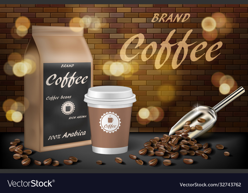 Coffee paper cup with beans ads 3d