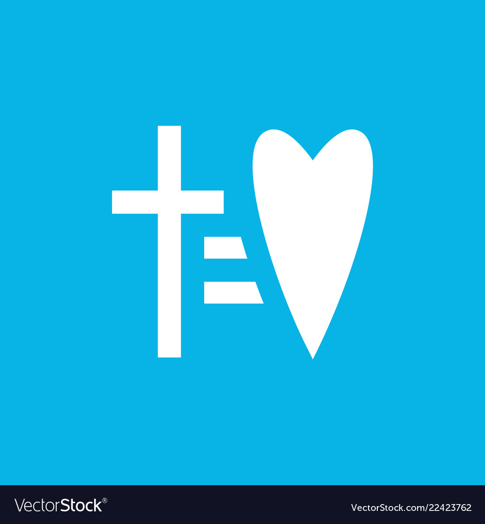 Cross equal to heart icon laconic