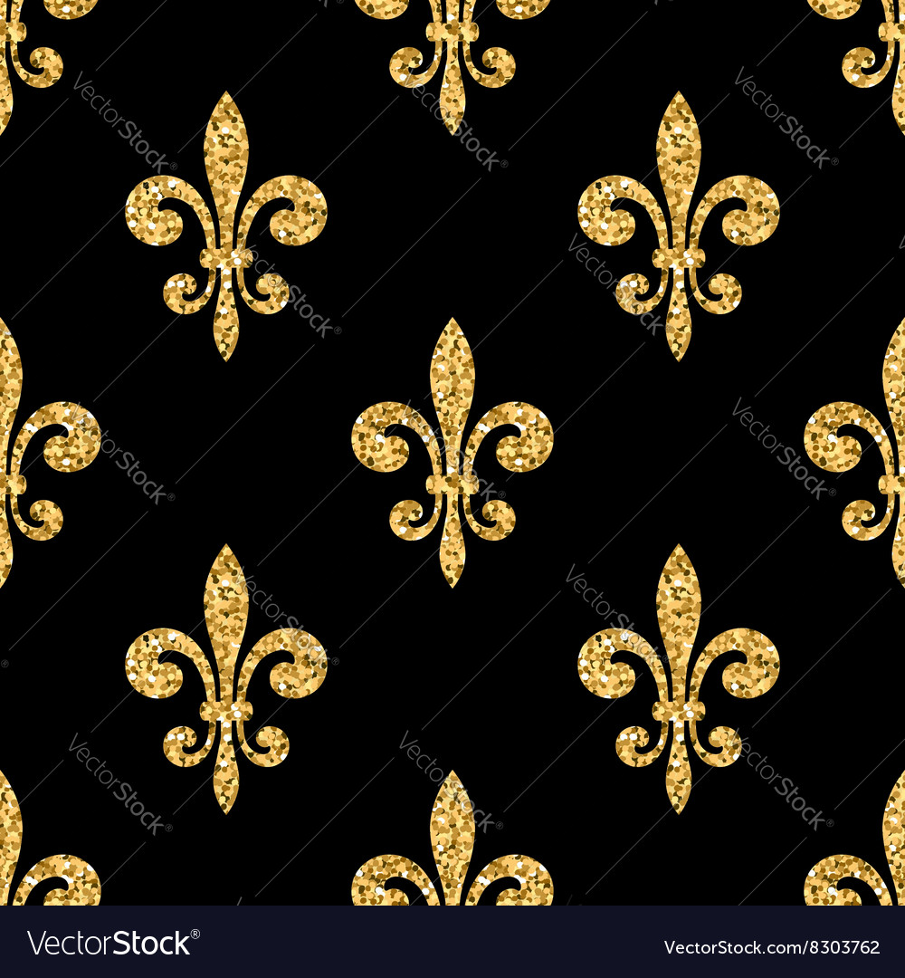 Golden Fleur De Lis Seamless Pattern Black