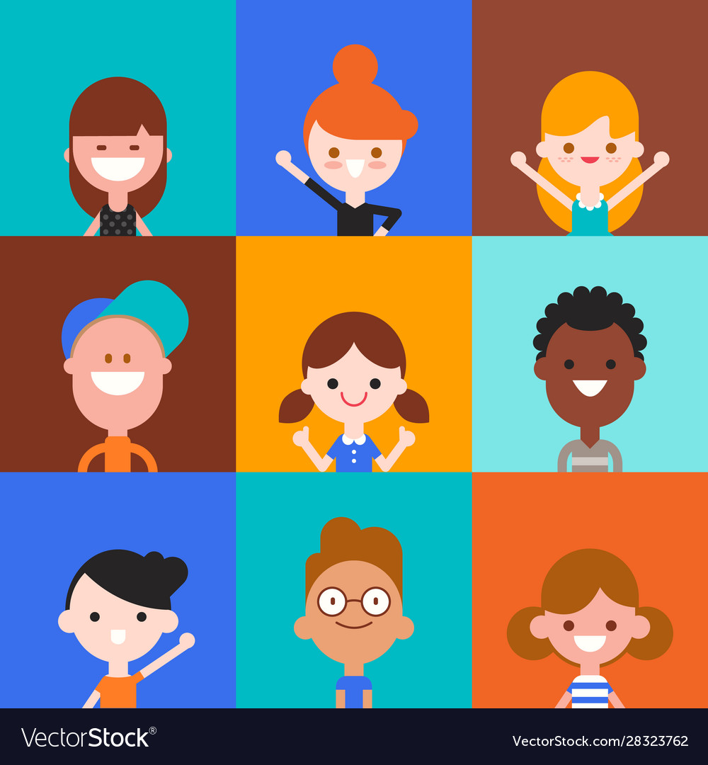 Happy kids character in flat design style