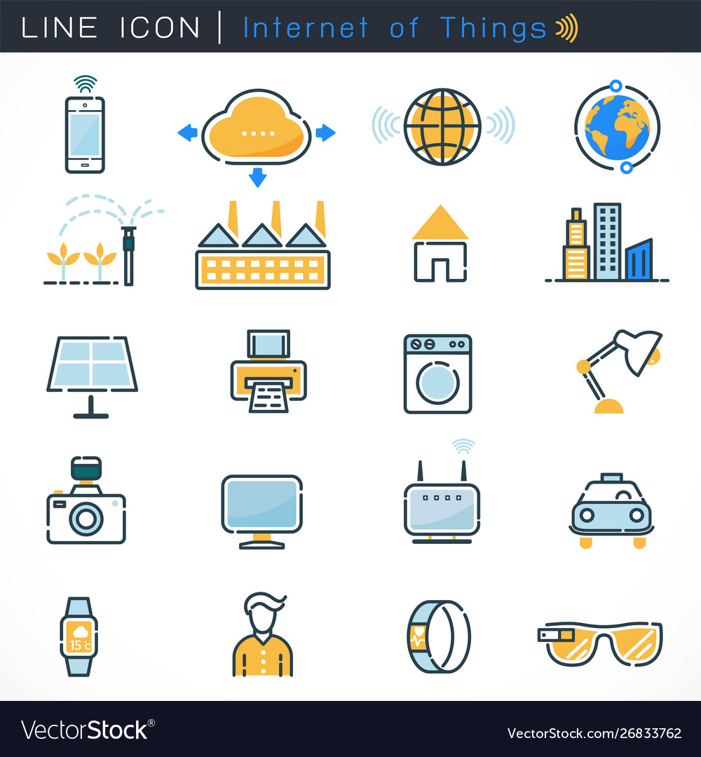 Internet things icons set with bold line