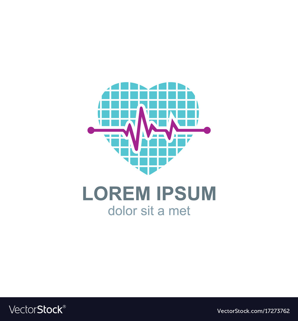 Love heart pulse logo vector image