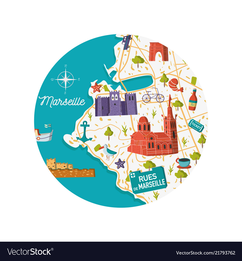 Marseille On Map Of France.Marseille City Map Royalty Free Vector Image Vectorstock