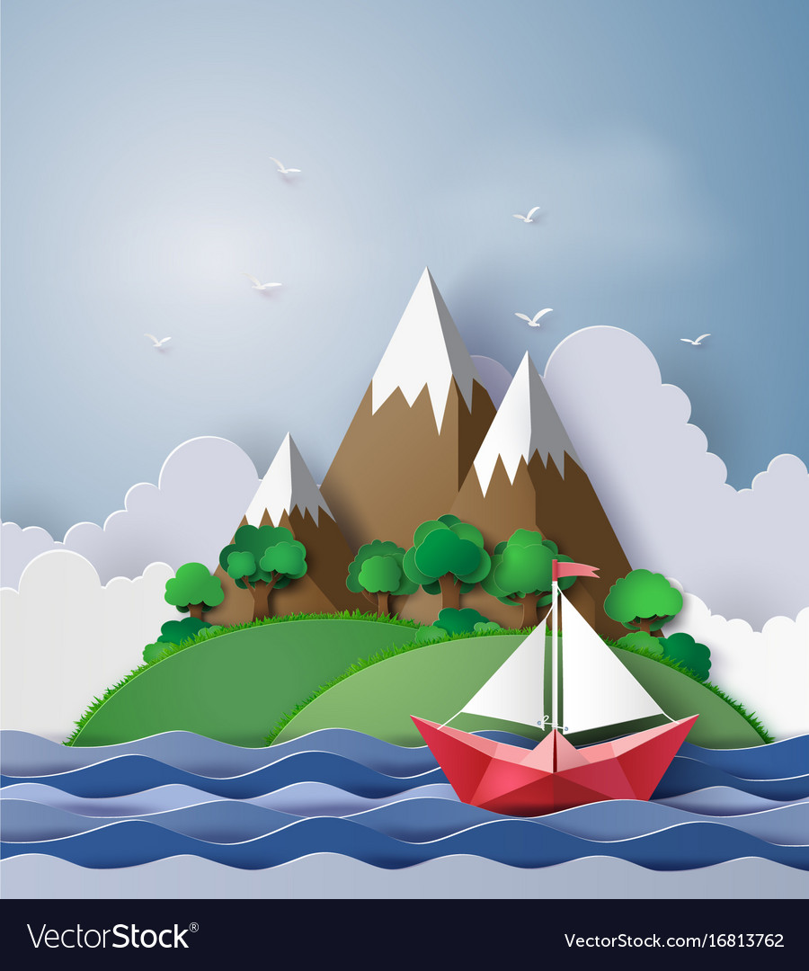 paper sailing boat float on the sea with island vector image