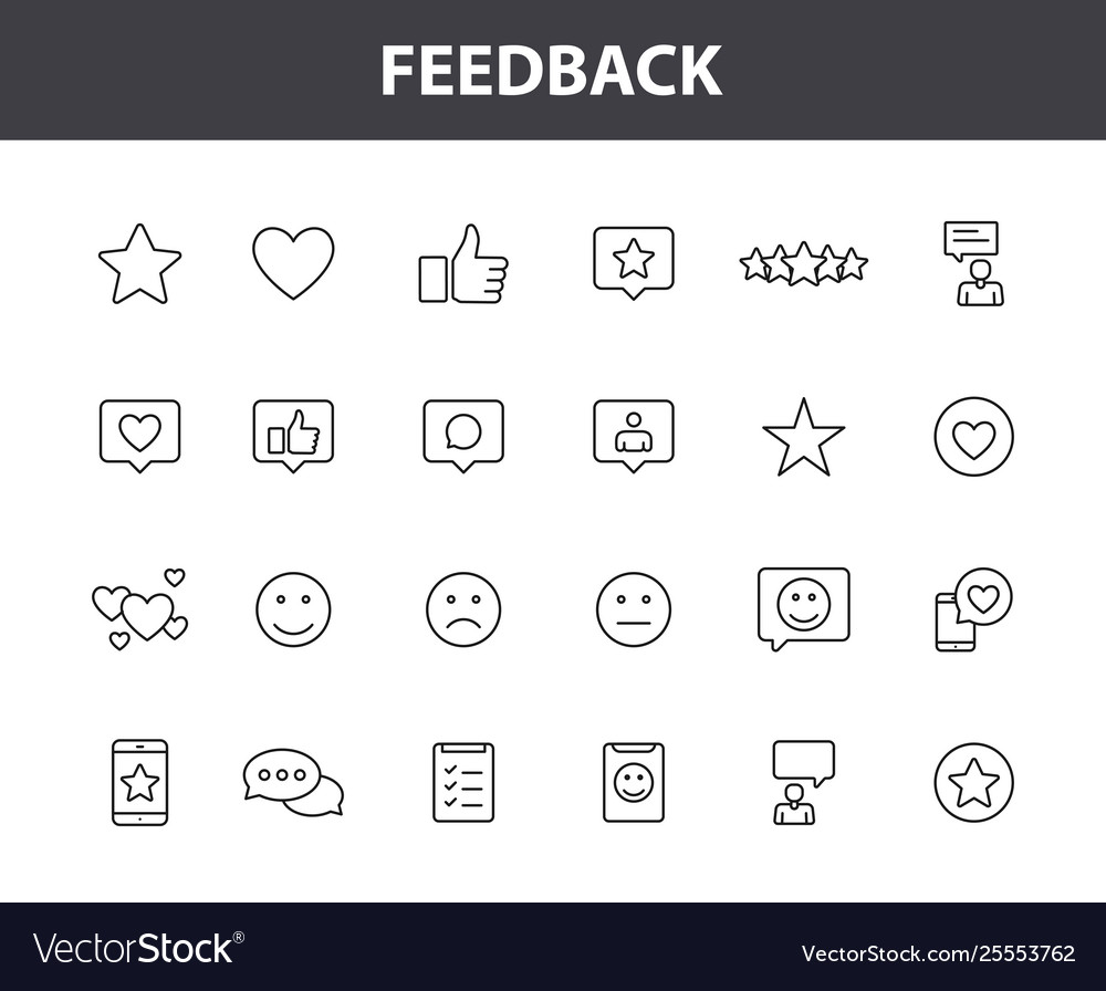 Set 24 feedback and review web icons in line