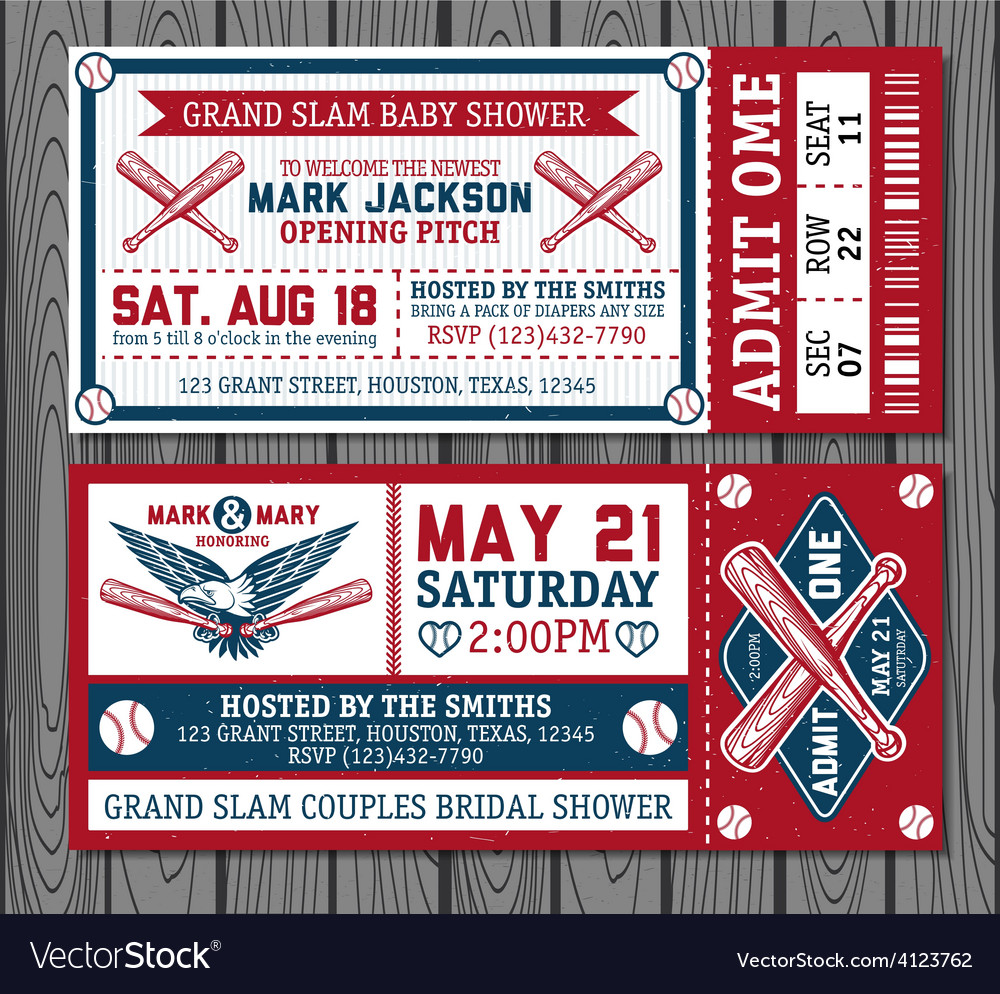 Set of vintage baseball tickets Royalty Free Vector Image
