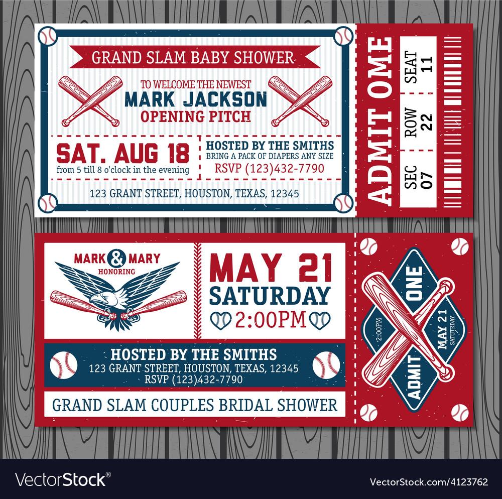 set of vintage baseball tickets royalty free vector image