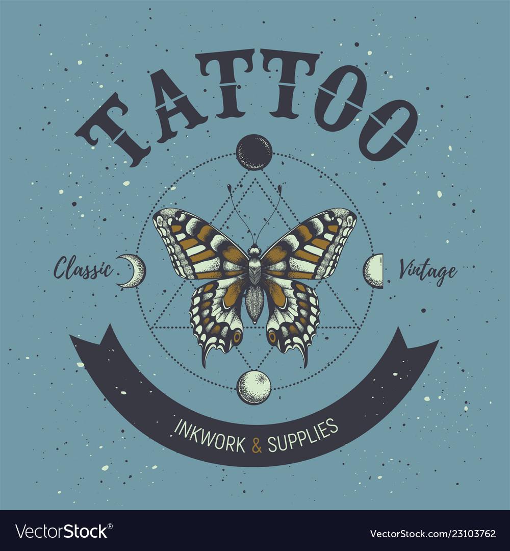 Tattoo studio posterbutterflyastrological symbol