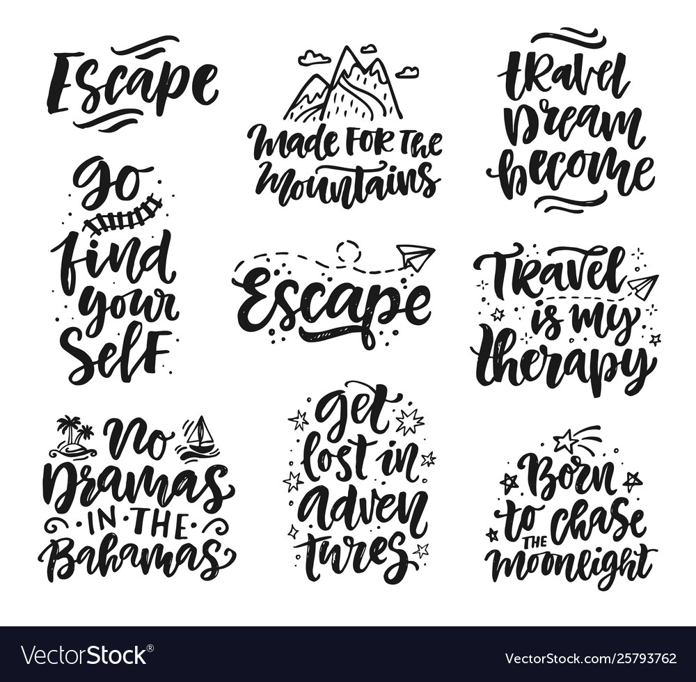 Travel adventures hand written lettering quotes